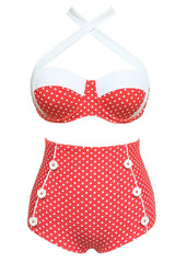 Red Buttoned High-Waisted Bikini Set