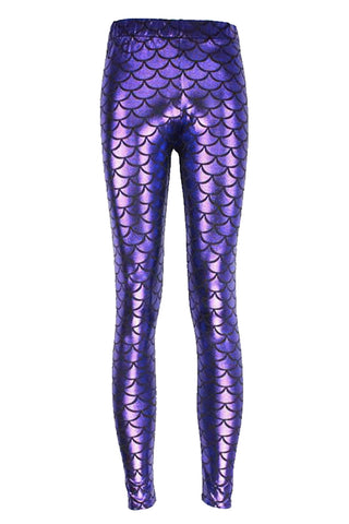Atomic Purple Fish Scale Low Waist Leggings