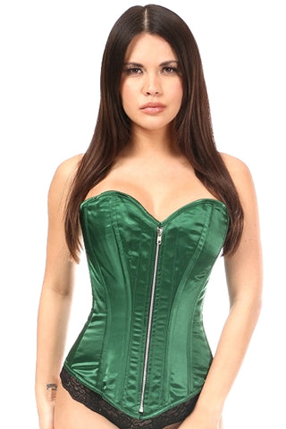 Dark Green Satin Steel Boned Corset
