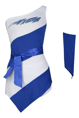 White and Blue Flight Attendant Costume