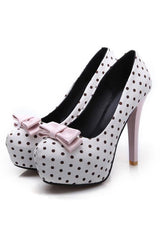 Retro Polka Dot Bowknot High Heels