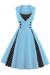 Baby Blue and Black Polka Dot Pleated Swing Dress
