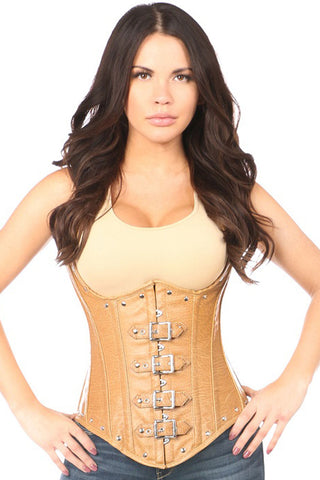 Top Drawer Light Brown Distressed Underbust Corset Top