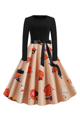 Black and Orange Pumpkin Witch Dress