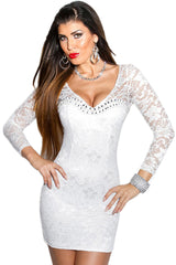 White Sleeved Lace Mini Dress