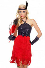 Black and Red Glamour Flapper Costume