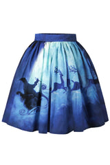 Dark Blue Christmas Night Skater Skirt