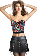 Colorful Gem Crop Top and Black Faux Leather Skirt Set