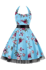Light Blue Floral Halter Swing Dress