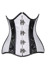 Curvy Brocade & Faux Leather Underbust Corset