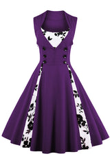 Purple Buttoned Floral Cocktail Dress