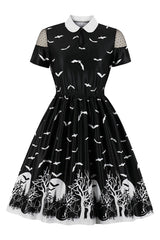 Black Bat Night Midi Dress