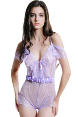 Purple  Dentelle Robe Teddy Lingerie