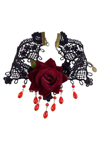 Black Lace And Red Rose Choker Necklace