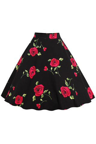 Blossomed Red Rose Rockabilly Skirt