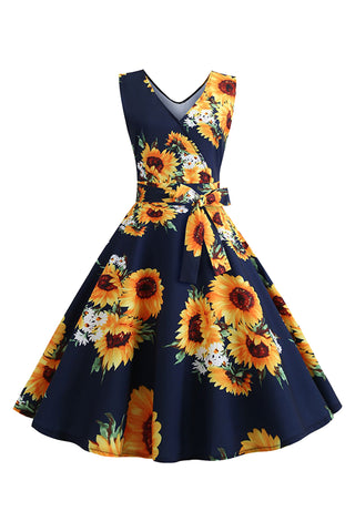 Vintage Sunflower Floral Belted Dress