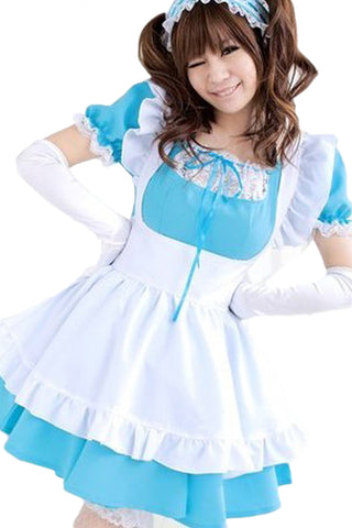 Atomic Blue and White Lolita Maid Costume