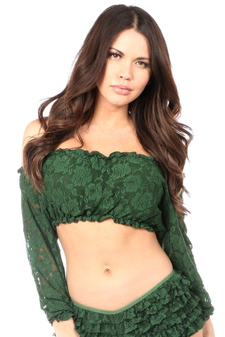 Dark Green Lined Lace Long Sleeve Peasant Top
