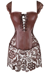 Brown Seduction PVC and Lace Bustier
