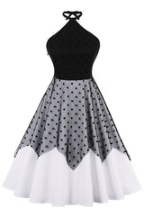 Black Polka Dot Mesh Swing Dress