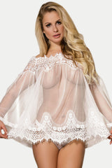 Sheer Floral Lace Tunic Babydoll Lingerie