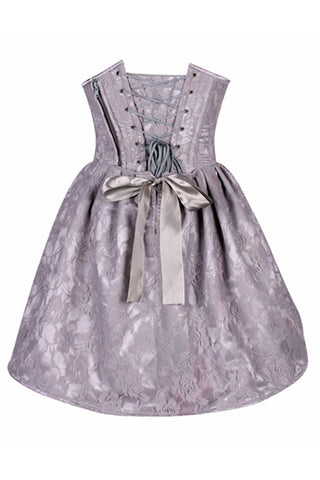 Top Drawer Premium Light Grey Floral Steel Boned Empire Waist Dress