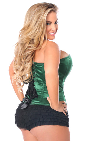 Top Drawer Premium Dark Green Satin Steel Boned Corset