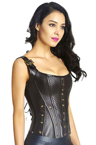 Brown Gothic Bustier Corset with Buckles