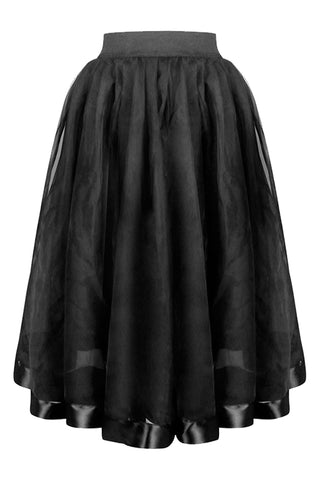 Black Double Layered Victorian Organza Skirt