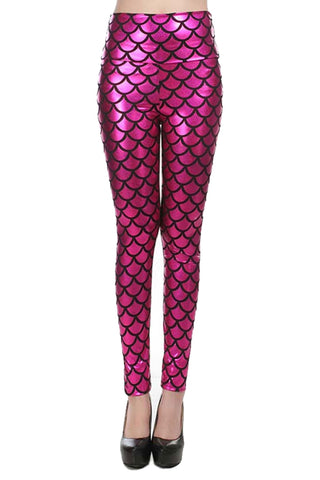 Hot Pink Fish Scale High Waist Leggings