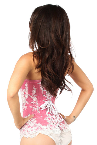 Top Drawer Premium Elegant Fuchsia Embroidered Steel Boned Corset