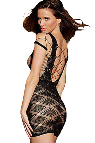 Black Hollow Out Mesh Chemise