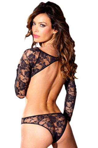 Black Open Back Floral Lace Teddy