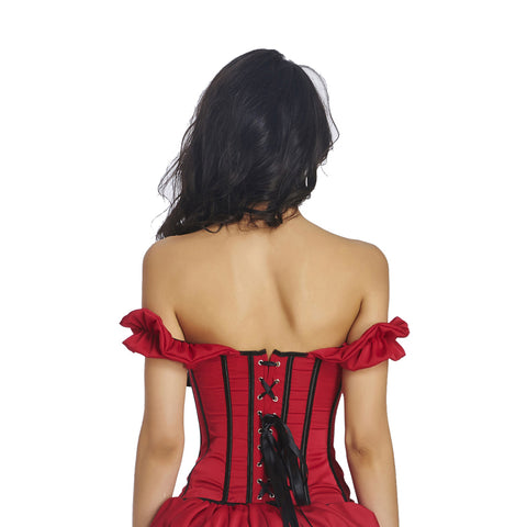 Just Give Me Red Off Shoulder Overbust Corset