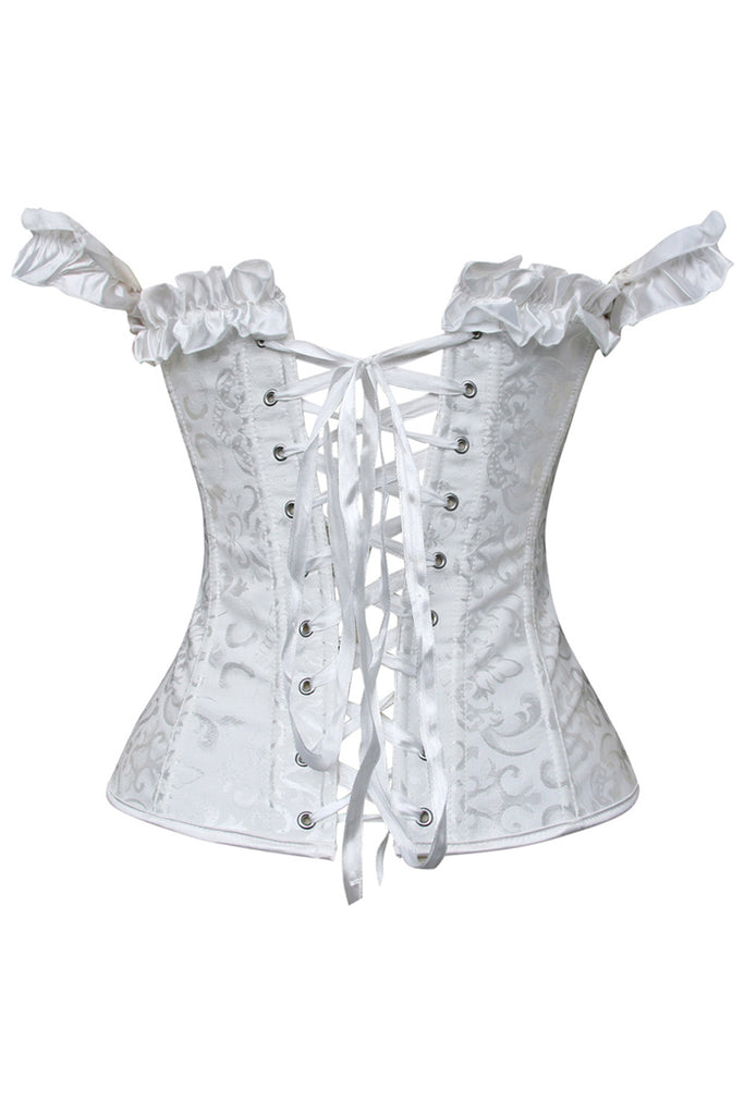 9514003cdf0 Atomic White Off Shoulder Tie Strap Overbust Corset