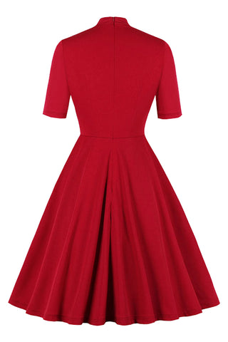 Atomic Vintage Solid Tie Collar Midi Dress