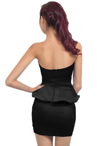 Black Peplum Waist Dress