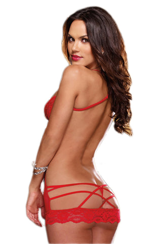 Red Lace Open Back Chemise