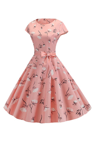Pink Floral Printed Belted Swing Dress