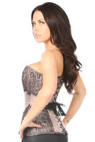 Gunmetal Steel Boned Brocade Overbust