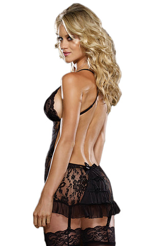 Black Backless Lace Chemise