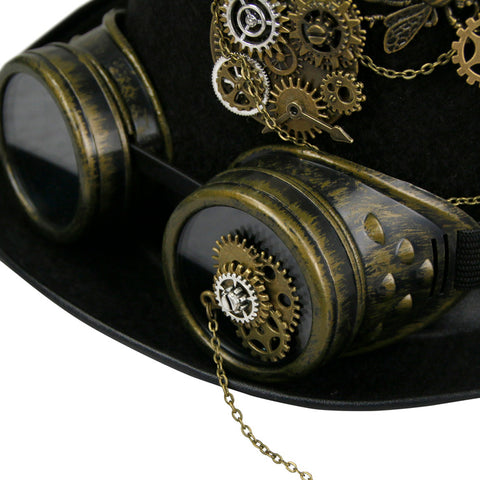 Steampunk Gear and Goggles Top Hat