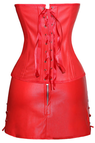 Red Faux Leather Corset with Skirt