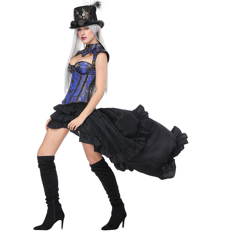 cc59273125feb Atomic Blue Decorative Overbust Corset and High-Low Skirt Set ...