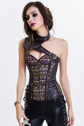 Tribal Dark Brown Faux Leather Steel Boned Steam Corset