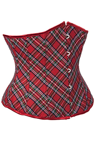 Atomic Red Plaid Underbust Corset
