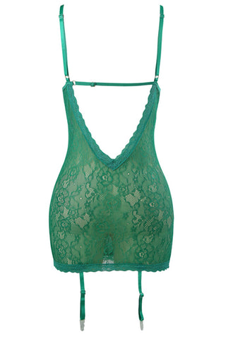 Green Floral Jeweled Lace Chemise