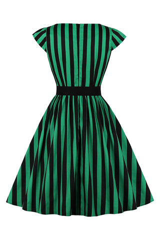 Atomic Black And Green Striped Belted Dress