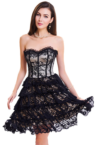 Apricot Floral Victorian Lace Corset Dress