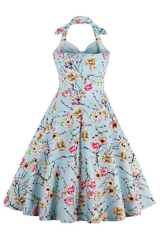 Sky Blue Vintage Inspired Floral Dress